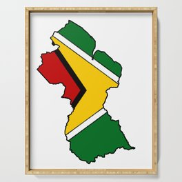 Guyana Map with Guyanese Flag Serving Tray