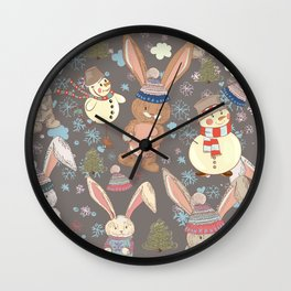 6)	Christmas cute illustration with bunny and snowmen. Winter design illustration Wall Clock