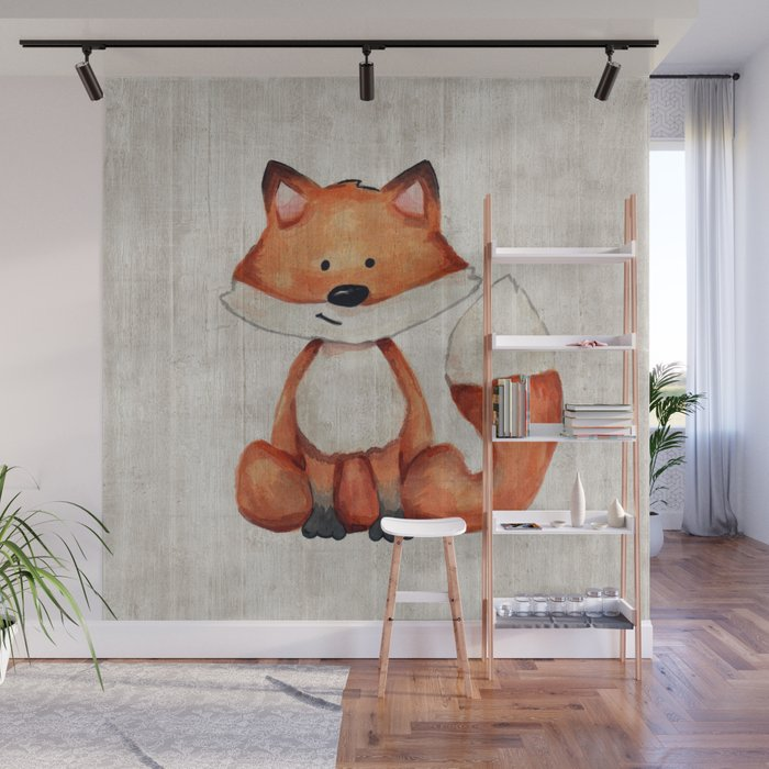 Little Fox Baby Fox Baby Animals Forest Critters Woodland Animals Nursery Art Wall Mural By Cateandrainn Society6
