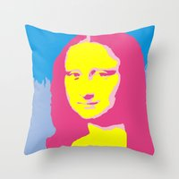 mona lisa Throw Pillows featuring Mona Lisa by Becky Rosen