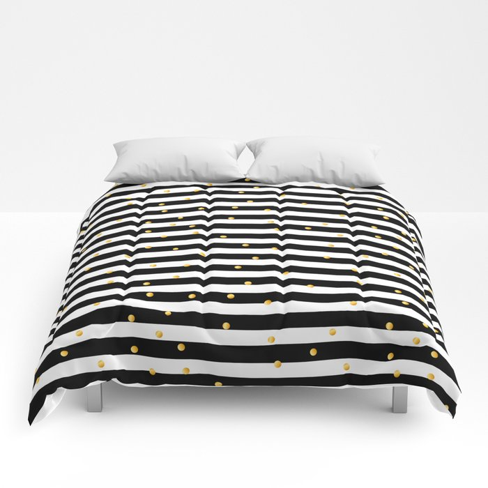 Modern Black White Gold Polka Dots Striped Pattern