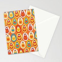 pattern orange blue red yellow Russian dolls matryoshka Stationery Cards