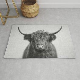 Highland Cow - Black & White Rug