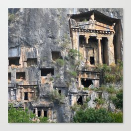 Rock Tombs Photograph Fethiye Canvas Print