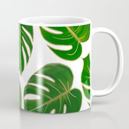 Modern hand painted green faux gold monster leaves Coffee Mug