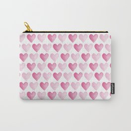Pink Watercolour Hearts pattern Carry-All Pouch