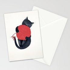 Black cat Red yarn Stationery Cards