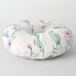 Cactus Rose Pattern on Pink Floor Pillow