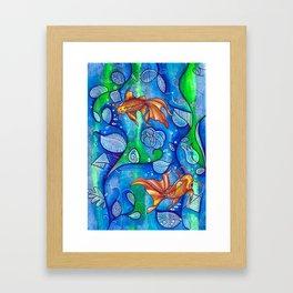 koi fish in the lake Framed Art Print