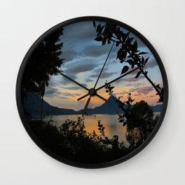 Lago Atitlan at Sunrise Wall Clock