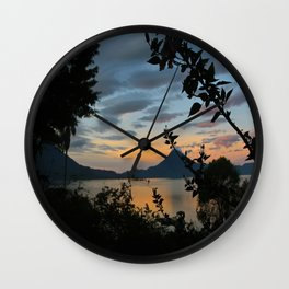 Lago Atitlan at Sunrise Wall Clock