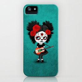 Day of the Dead Girl Playing Lebanese Flag Guitar iPhone Case