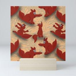 Fox cubs Mini Art Print