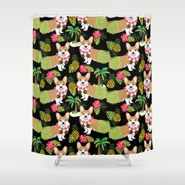 Corgi Hula Tropical Summer pineapple palm tree dog dogs pattern Shower Curtain