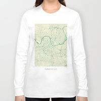 nashville Long Sleeve T-shirts featuring Nashville Map Blue Vintage by City Art Posters