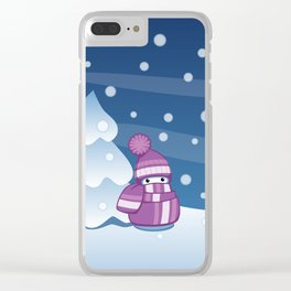 Crafty Snowman Knitting Scarf Clear iPhone Case
