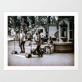Street Band Busking Art Print