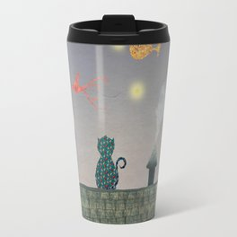 Cat in the Night with Flying Fish and Stars Travel Mug