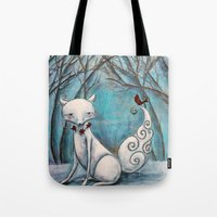 bianca green Tote Bags featuring Bianca by Allison Weeks Thomas