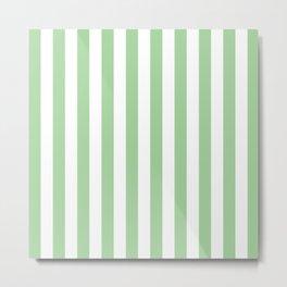 Vertical Mint Stripes Pattern Metal Print