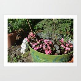 Sun kissed Garden Angel and Begonias Art Print