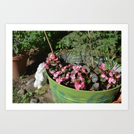 Sun kissed Garden Angel and Begonias Art Print