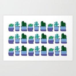 Potted succulent and cactus plant doodle pattern Art Print