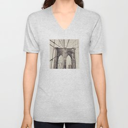 Brooklyn bridge, New York city, black & white photography, wall decoration, home decor, nyc fine art Unisex V-Neck