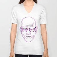 walter white V-neck T-shirts featuring Walter White by Bleachydrew
