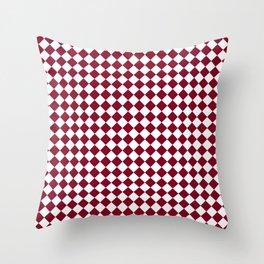 White and Burgundy Red Diamonds Throw Pillow