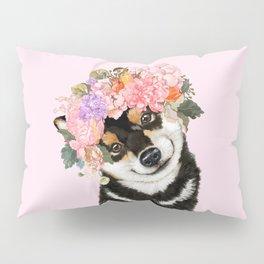 Black Shiba Inu with Flower Crown Pink Pillow Sham