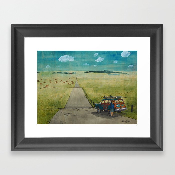 The Lost Surfer; Into the Prairies Framed Art Print