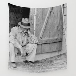 Farmer in Despair Over the Depression in 1932 Wall Tapestry