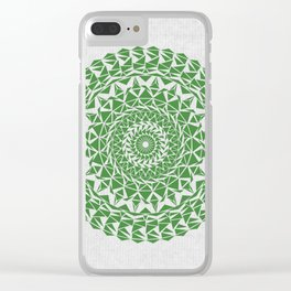 Mandala Green on Japanese Rice Paper Clear iPhone Case