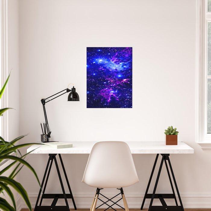Fox Fur Nebula Galaxy blue purple Poster