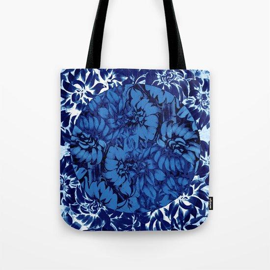 blue floral circle on blue floral Tote Bag