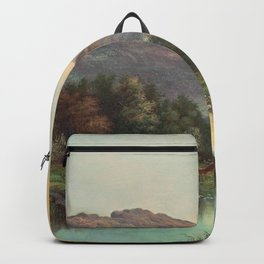 A Deer at the Edge of a Highland Stream nature landscape painting by William Henry Millais Backpack