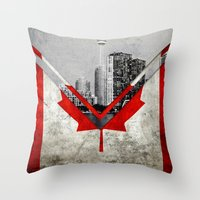 canada Throw Pillows featuring Flags - Canada by Ale Ibanez