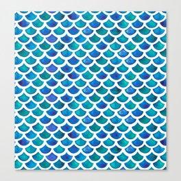 Blue Mermaid Scales Canvas Print