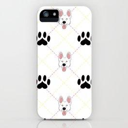 White German Shepherd Paw Print Pattern iPhone Case