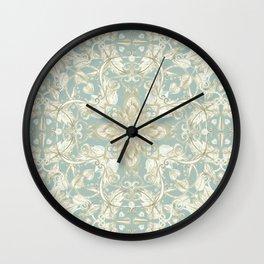 Soft Sage & Cream hand drawn floral pattern Wall Clock