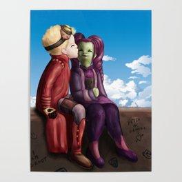 Young Gamora and Peter Kiss Poster