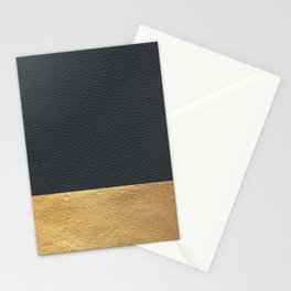 Color Blocked Gold & Leather Stationery Cards