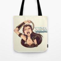 xena Tote Bags featuring yodel princess by Kiska Zilla