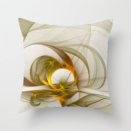Fractal Art Precious Metals, Abstract Graphic Throw Pillow