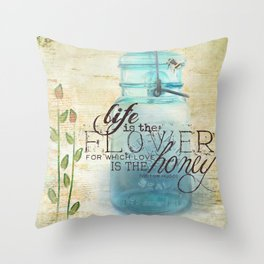 Summer Flowers and Busy Bees Throw Pillow