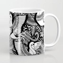 Stylish Swans in Monochrome Black and White Coffee Mug