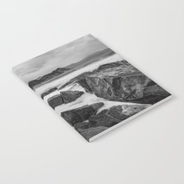 Rocky Ocean Black And White Notebook
