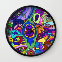 psychadelic Wall Clocks featuring Abstract 18 by Linda Tomei