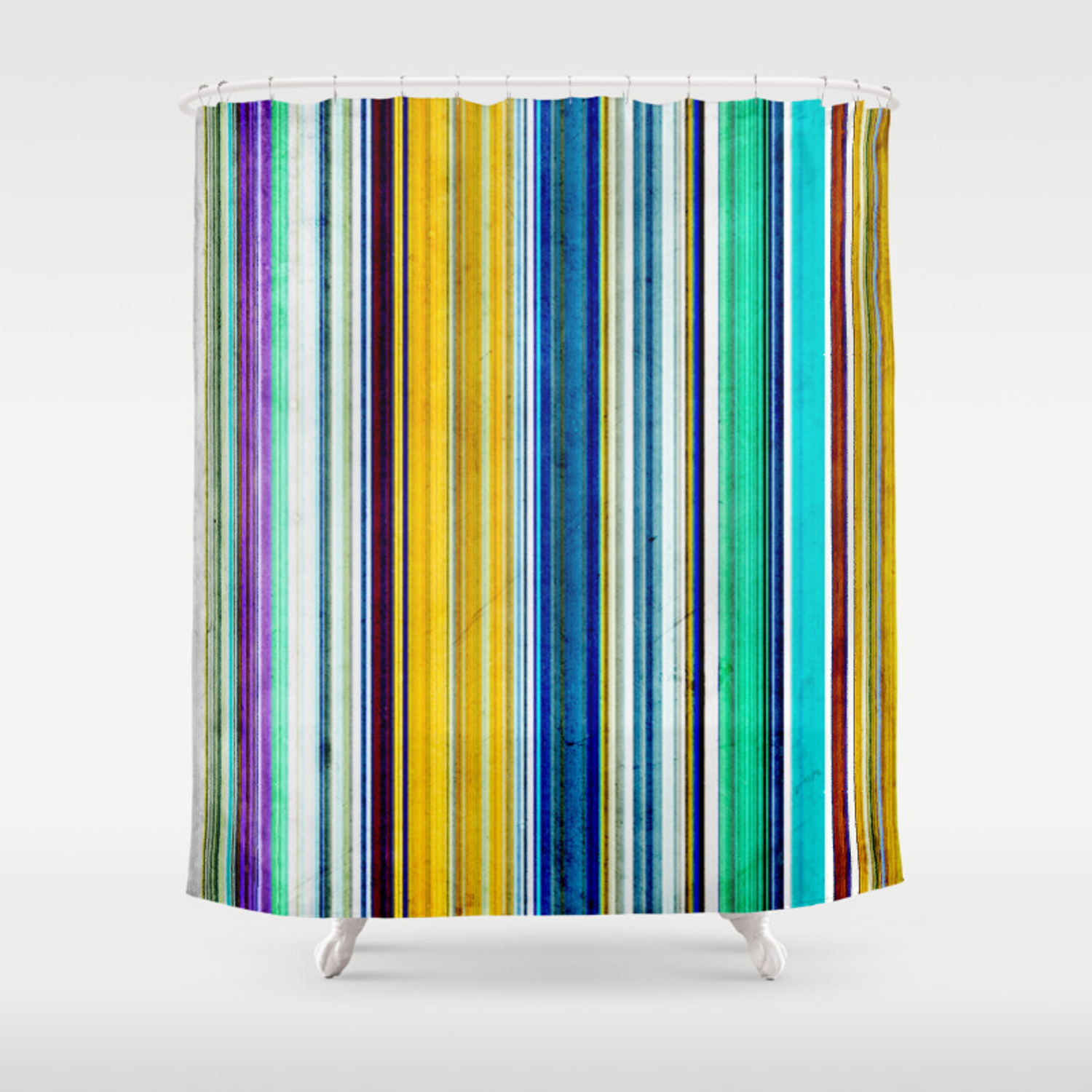 Colorful Stripes With Texture Shower Curtain